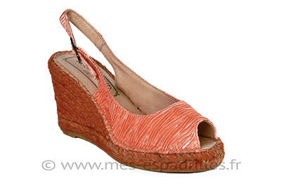 Espadrilles à talon orange